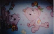 Mein Kindersitz!!! Teddybären. Nee, Schweine. Und Bienen. Mit Regenbogen.